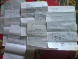 Surat-surat dari siswa kelas 5 SDN 22 Inp Rura