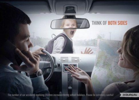 Iklan larangan menggunakan handphone sambil berkendara.